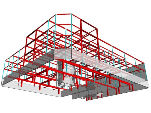 Isometric view of steel frame modeled in RAM