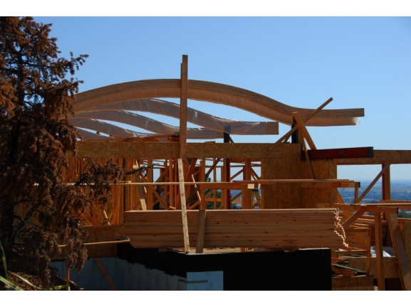 Glu lam arch roof beams