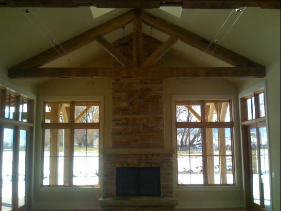 White oak timber roof truss